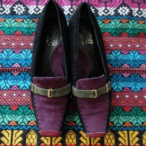 Vintage suede multicoloured loafers shoes